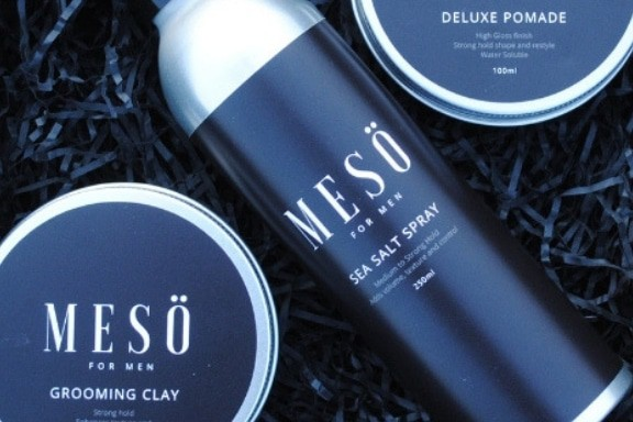Meso mens hair products including sea salt spray, groming clay and styling creme