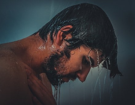 Beard Stubble length 10mm on man in shower
