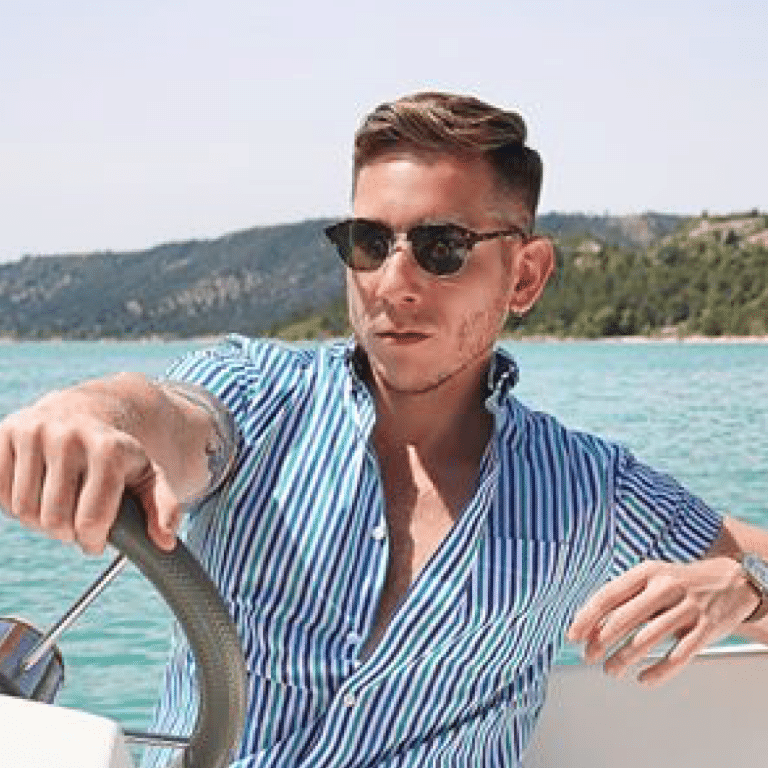 Tony Flynn looking great on a boat in the South of France sporting the latest fashion trends.