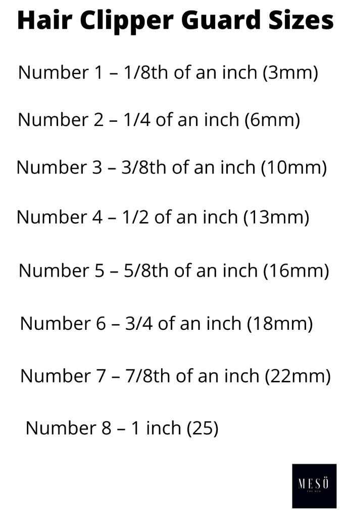 Hair Clipper's Guard Size Guide