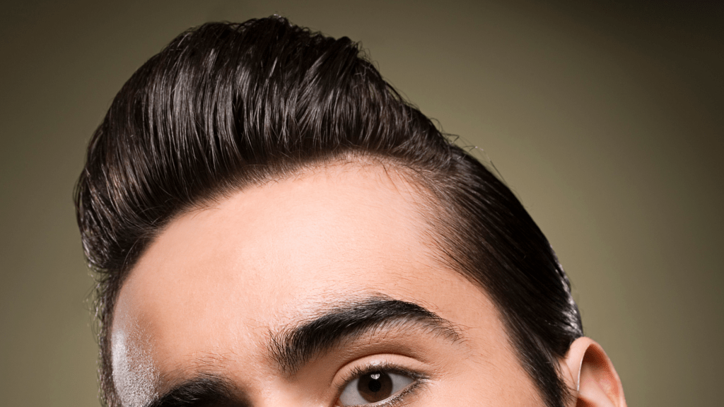 Pompadour with slicked back hairstyle