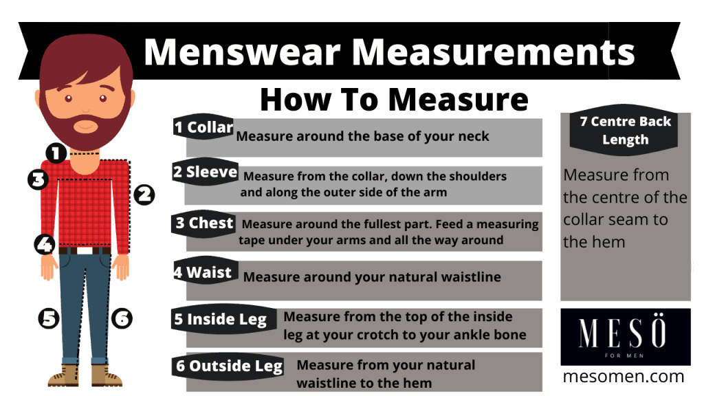 How to measure your body - men's size guide